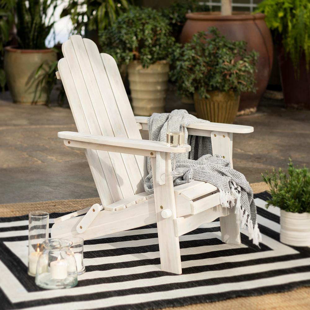 White Wash Outdoor Patio Wood Adirondack Chair