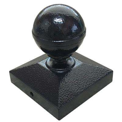 3 in. x 3 in. Textured Black Ball Post Cap for EZ Handrail Posts