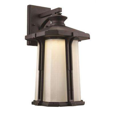 1-Light Black Outdoor Integrated LED Outdoor Wall Mount Lantern