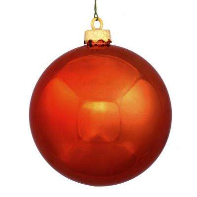 shatterproof shiny burnt orange uv resistant commercial christmas ball ornament