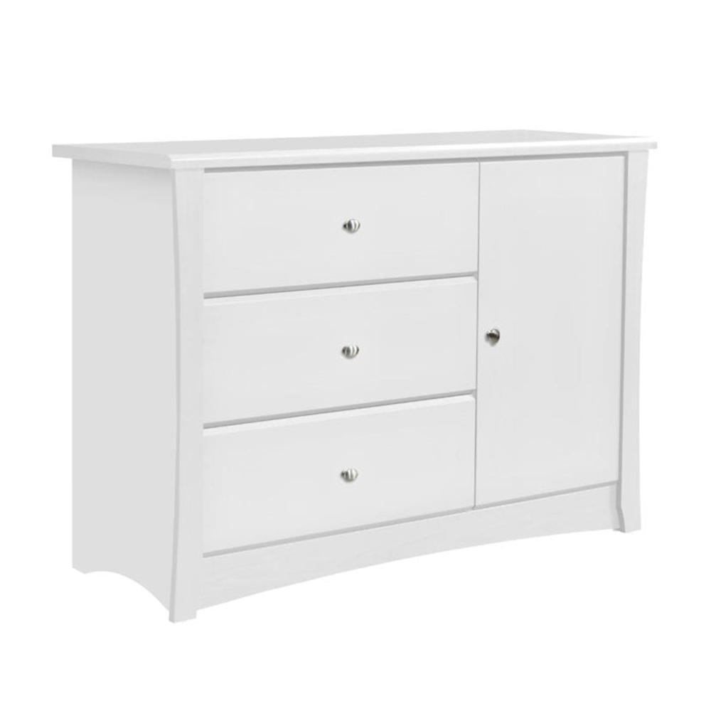 Crescent 3-Drawer White Combo Dresser