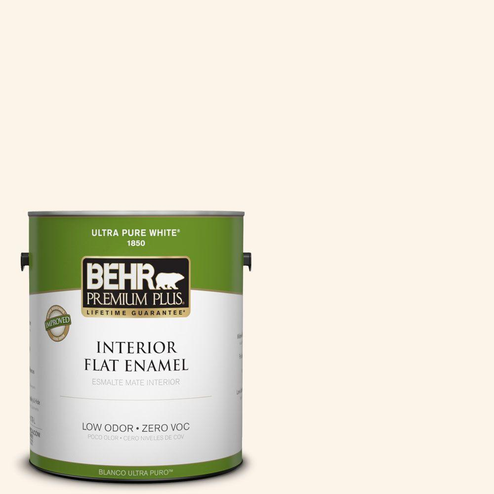 BEHR Premium Plus 1-gal. #W-D-400 Cotton Fluff Zero VOC Flat Enamel Interior Paint-DISCONTINUED