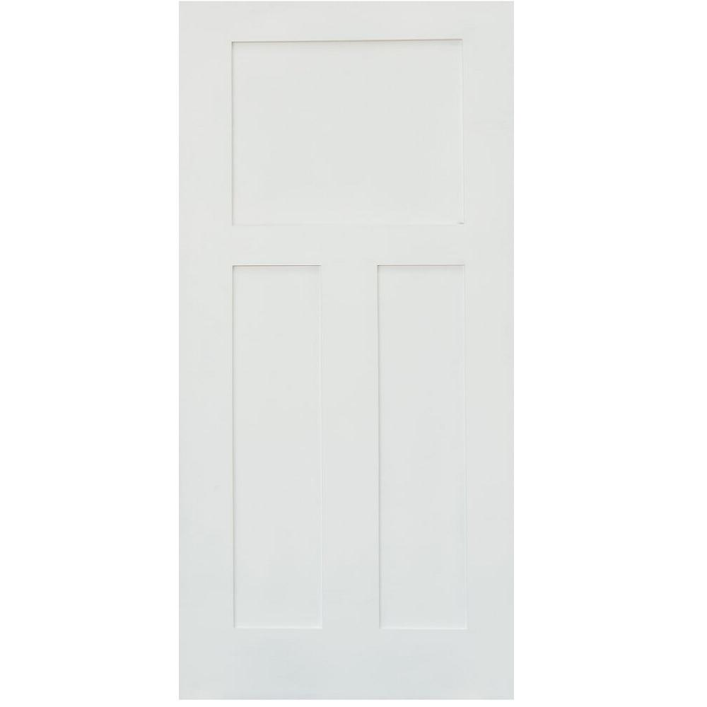 Stile doors 24 in x 80 in shaker primed 3 panel solid for Solid core mdf interior doors