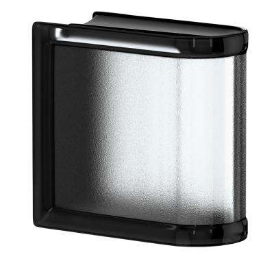 Licorice 5.75 in. x 5.75 in. x 3.15 in. Classic Black End Linear Glass Block