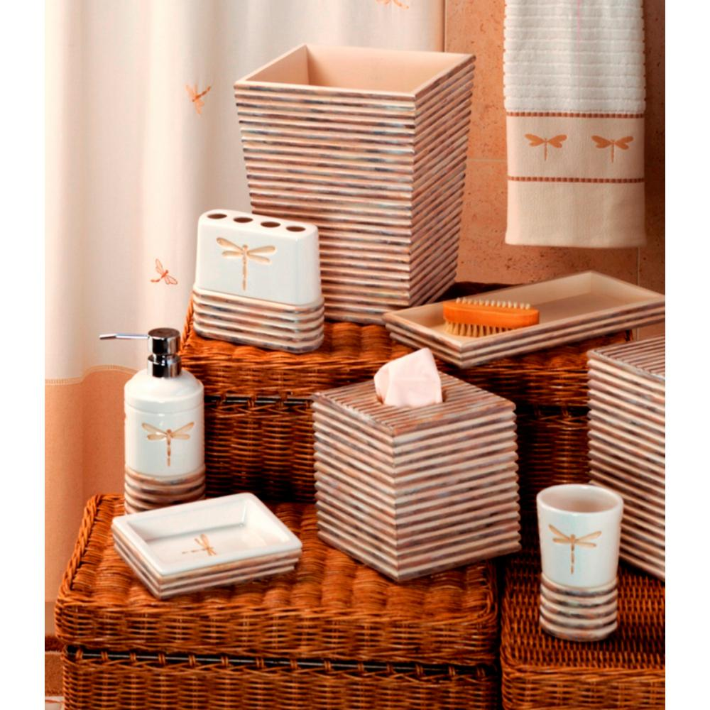 Dragonfly 6 Piece Ceramic/Wood Bath Accessory Set In White/Tan/Brown
