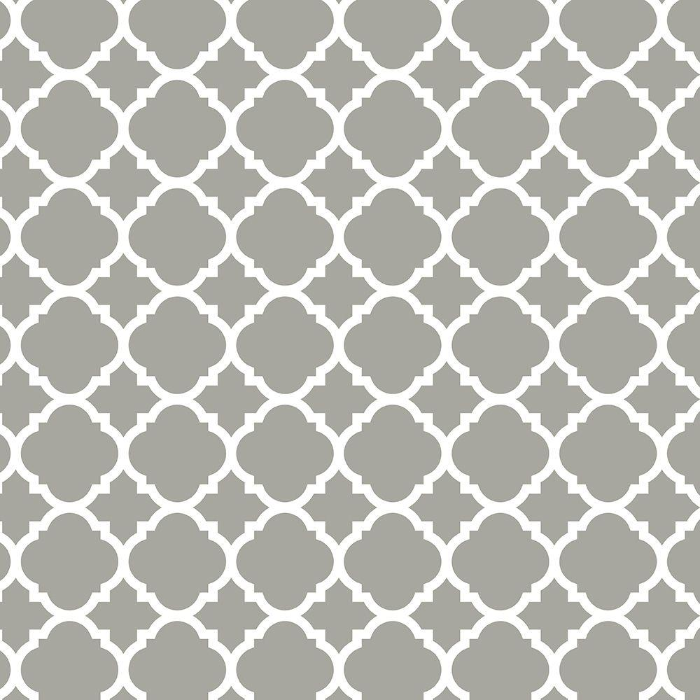Liberty 18 in. Gray Quatrefoil Adhesive Shelf Liner
