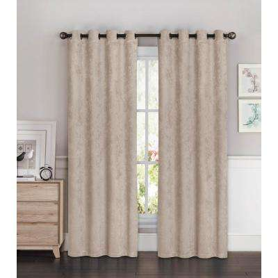 Blackout Faux Suede 54 in. W x 84 in. L Room Darkening Grommet Extra Wide Curtain Panel in Taupe