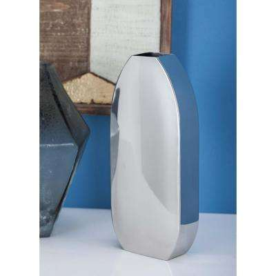 11 in. Stainless Steel Oval Decorative Vase in Silver