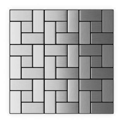 California Silver Stainless Steel 11.3 in. x 11.3 in. x 5 mm Metal Peel and Stick Wall Mosaic Tile