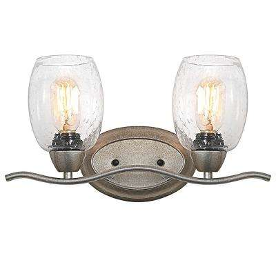 2-Light Soft Gold Vanity Light with Seeded Glass Shade