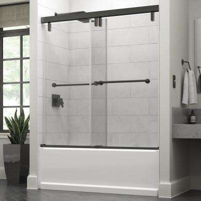 Lyndall 60 in. x 59-1/4 in. Semi-Frameless Mod Sliding Bathtub Door in Bronze with 3/8 in. (10mm) Clear Glass