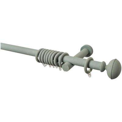 63 in. Intensions Curtain Rod Kit in Forest with Bell Finials with Open Brackets and Rings