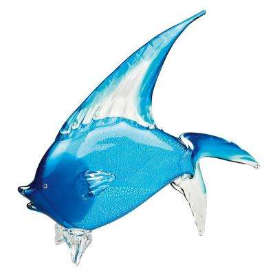 Light Blue Art Glass 15.5 in. H x 18 in. L Sealife Tropical Fish