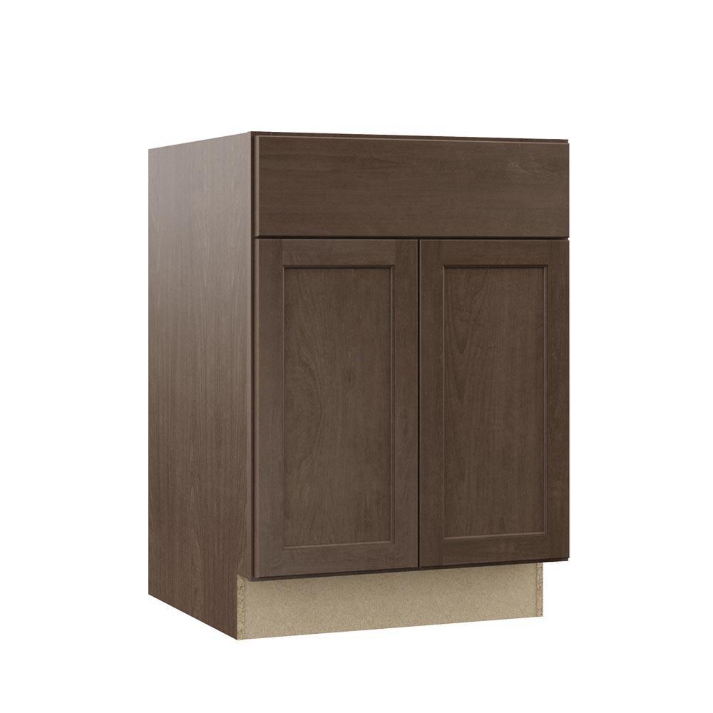 Shaker Assembled 24x34.5x 21 in. Bathroom Vanity Base Cabinet in Brindle