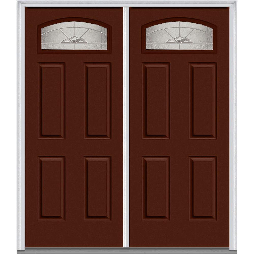 72 in. x 80 in. Master Nouveau Left-Hand 1/4 Lite 4-Panel Classic Painted Steel Prehung Front Door