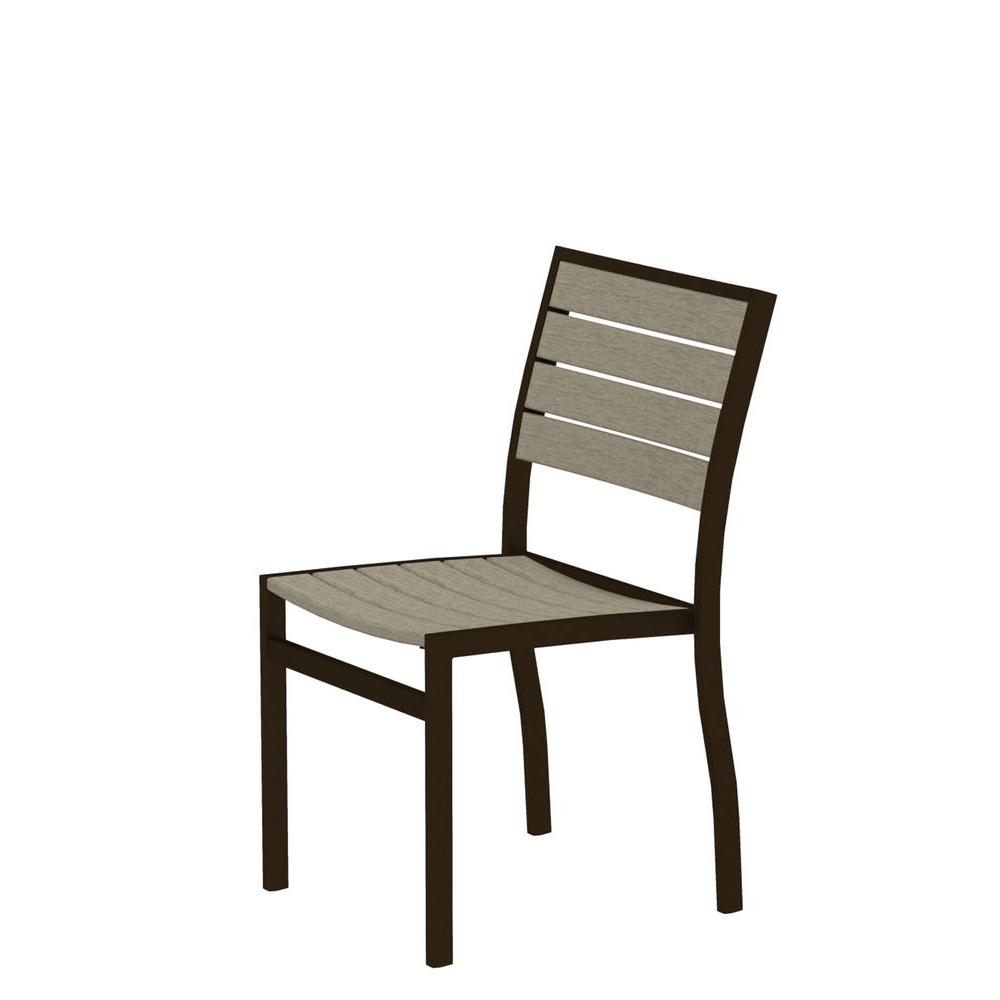Euro Textured Bronze Plastic Outdoor Patio Dining Side Chair with Sand