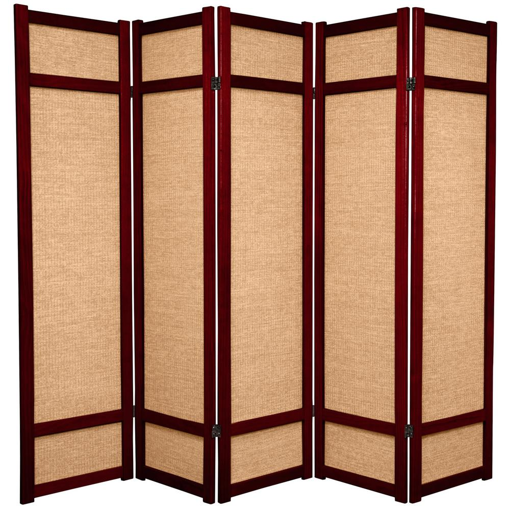 6 ft rosewood 5 panel room divider jkshoji rwd 5p the home depot rh homedepot com Rolling Room Dividers Partitions 5 panel white room divider