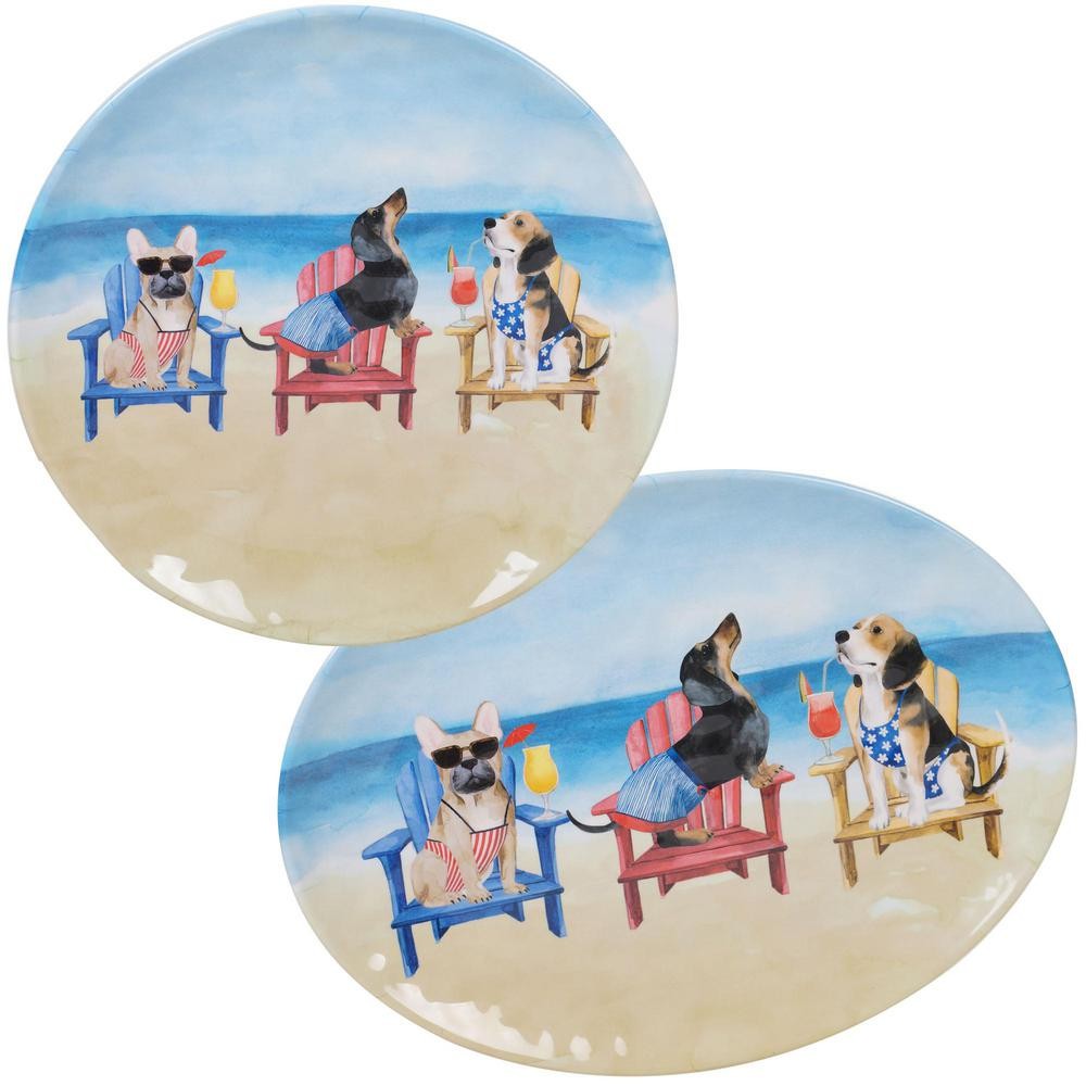Hot Dogs 2-Piece Coastal Multi-colored Melamine Outdoor 14 and 18 in. Platter Set