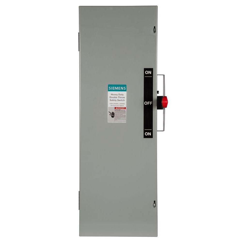 Double Throw 100 Amp 240-Volt 3-Pole Indoor Fusible Safety Switch