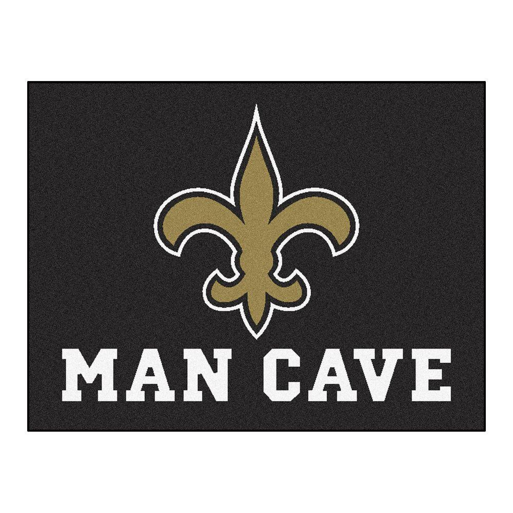 Fanmats New Orleans Saints Black Man Cave 2 Ft 10 In X 3 Ft 9 In Accent Rug 14336 The Home