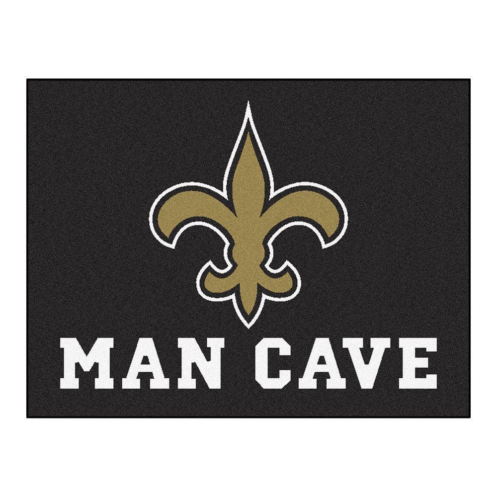 New Orleans Saints Black Man Cave 3 ft. x 4 ft. Area Rug