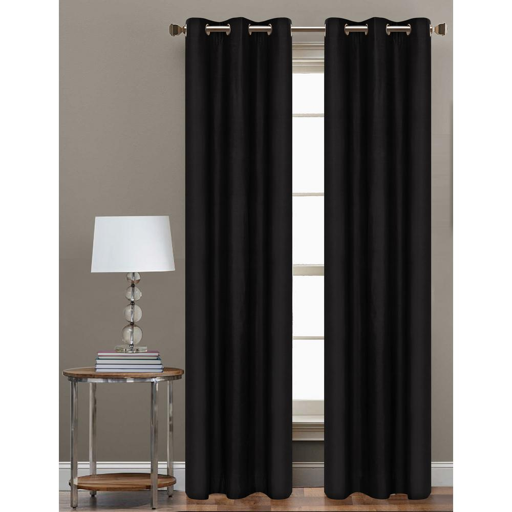 84 in. L Polyester Form Blackout Grommet Curtain Panel in Black
