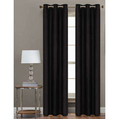 84 in. L Polyester Form Blackout Grommet Curtain Panel in Black (Set of 2)