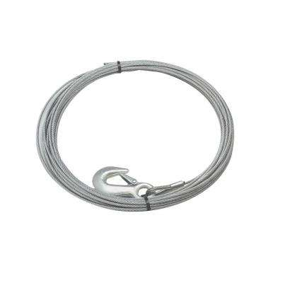 90 ft. x 3/8 in. Galvanized Steel Wire Rope with Hook for Husky 10 Winches