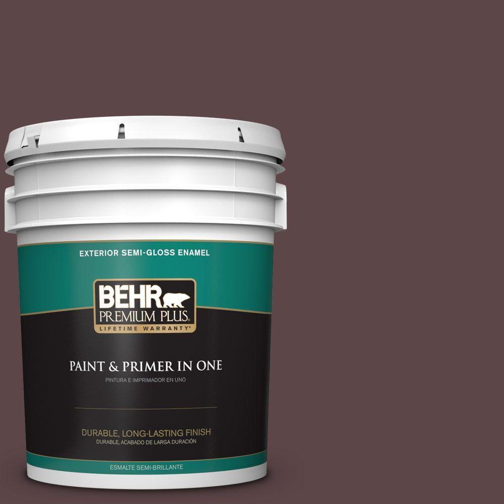 BEHR Premium Plus 5-gal. #BNC-31 Mahogany Spice Semi-Gloss Enamel Exterior Paint
