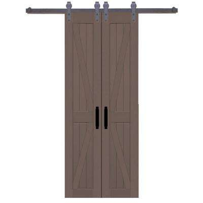 36 in. x 84 in. Board and Batten Composite PVC Hickory Split Barn Door with Sliding Door Hardware Kit