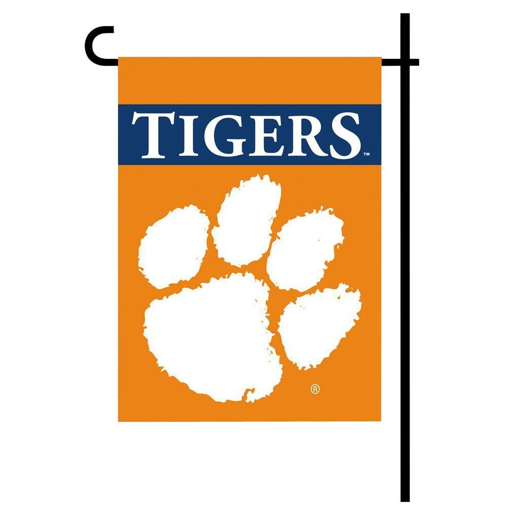 BSI Products NCAA 13 in. x 18 in. Clemson 2-Sided Garden Flag Set with 4 ft. Metal Flag Stand