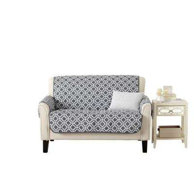 Liliana Collection Steel Grey Printed Reversible Loveseat Furniture  Protector