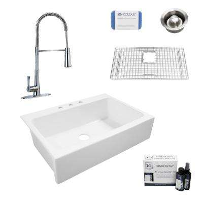 Josephine All-in-One Quick-Fit Farmhouse Fireclay 33.85 in. 3-Hole Single Bowl Kitchen Sink with Pfister Faucet