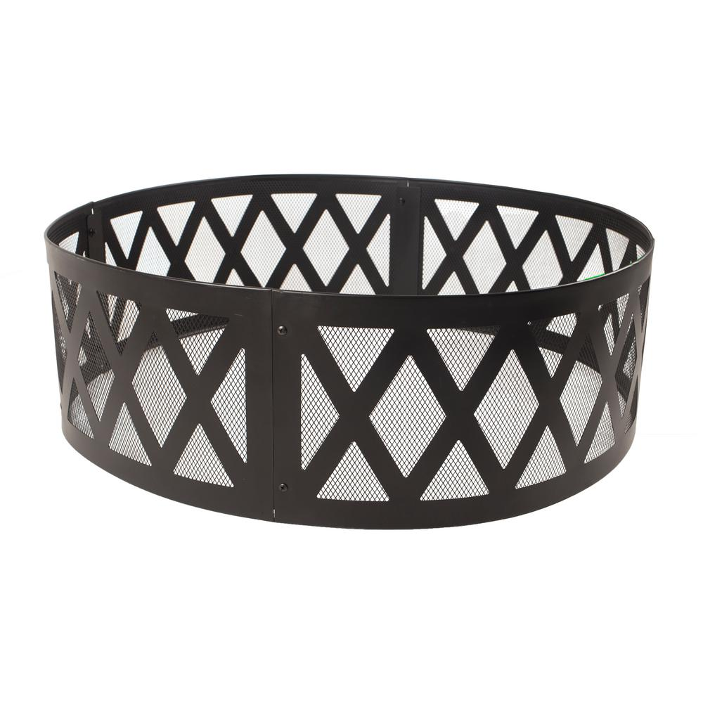 Pleasant Hearth 36 in. x 12 in. Round Steel Wood Burning Lattice Fire Ring in Black