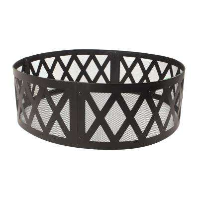 36 in. x 12 in. Round Steel Wood Burning Lattice Fire Ring in Black
