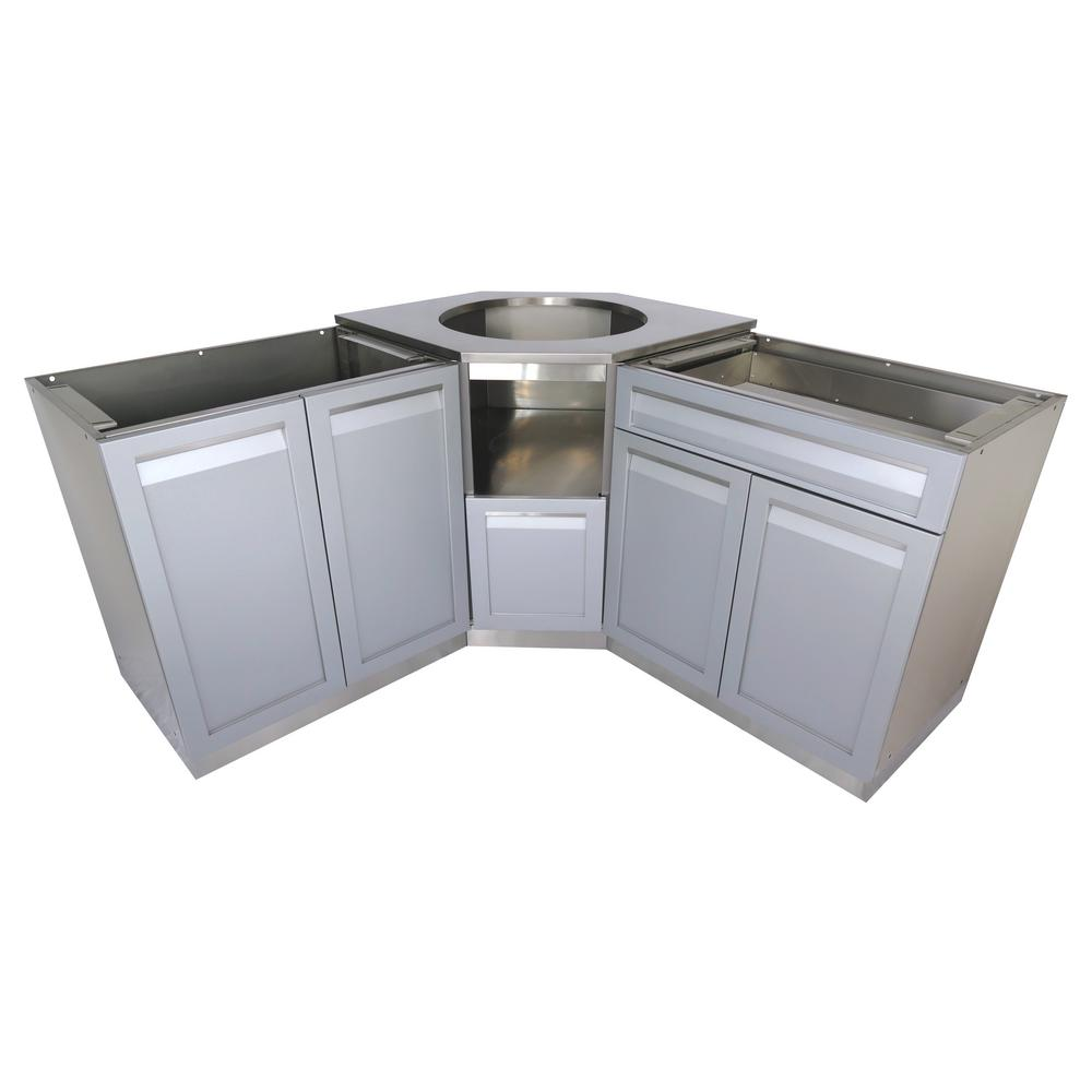 Stainless Steel Outdoor Kitchen Kamado Corner Cabinet Set with Gray Doors and Drawer