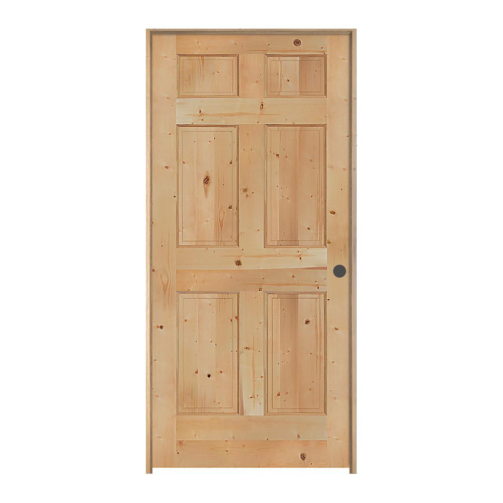 Jeld wen 30 in x 80 in knotty pine unfinished left hand 6 panel wood single prehung interior 6 panel hardwood interior doors