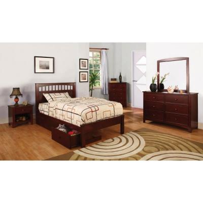 Carus Twin Bed in Cherry finish