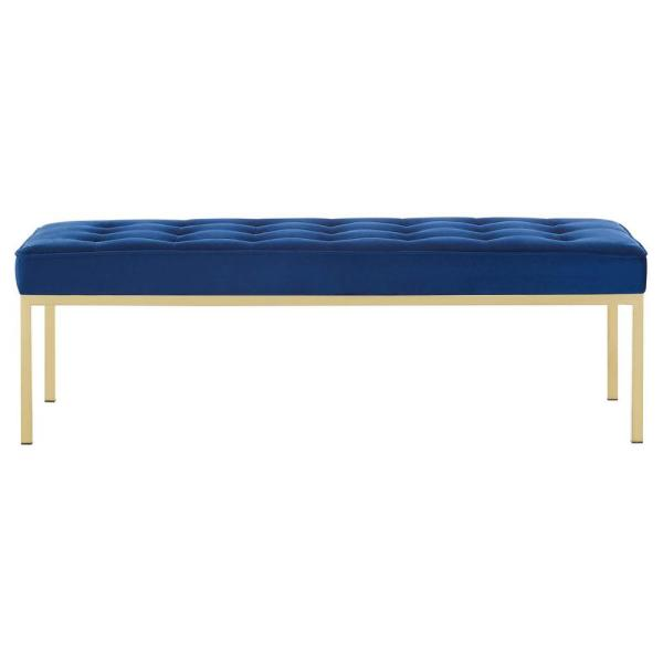 MODWAY Loft Gold Navy Stainless Steel Leg Large Performance Velvet Bench