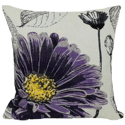 18 in. x 18 in. Purple Flower Embroidery Collection with Feather Filled Pillow