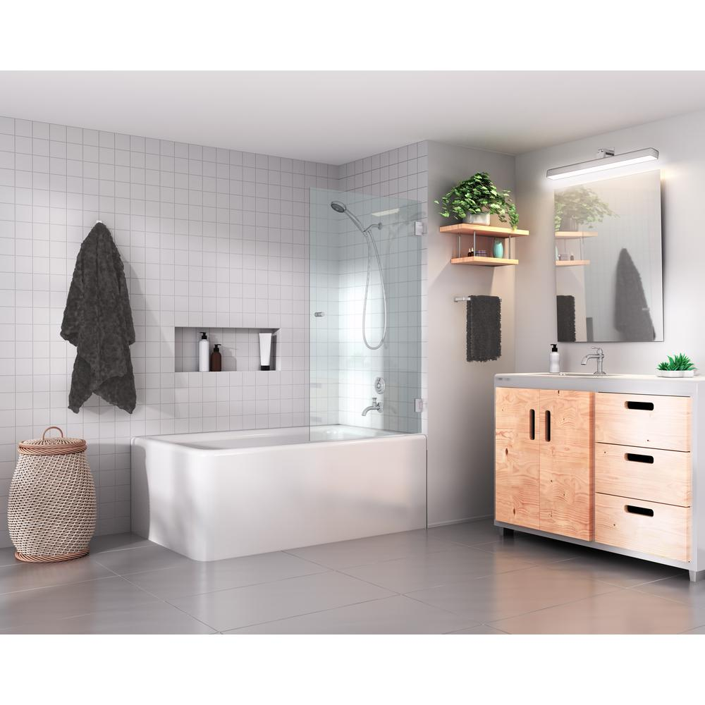 Glass Warehouse 58 in. x 31.5 in. Frameless Glass Hinged Tub Door in ...