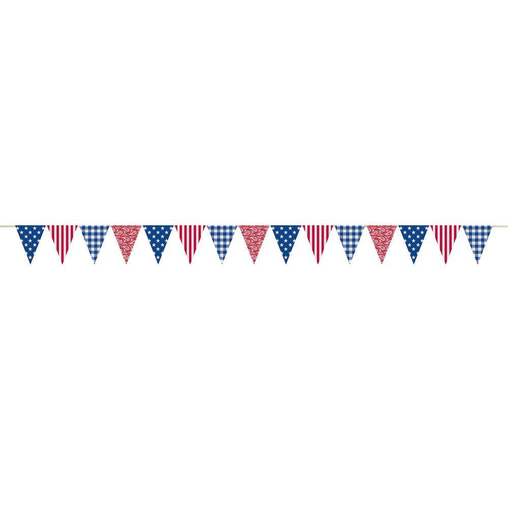 11.75 in. x 11 ft. Patriotic Burlap Pennant Banner