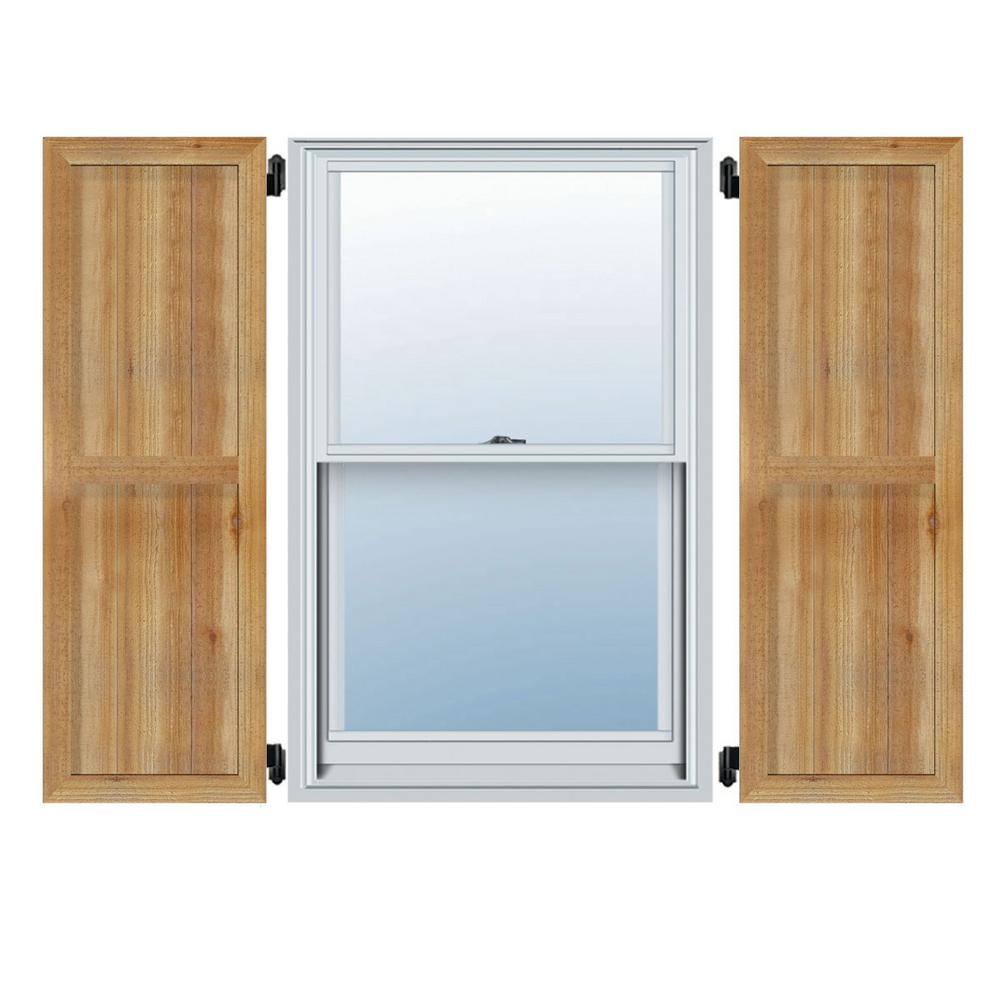 Ekena Millwork 21-1/2 in. X 60 in.TimberCraft Four 5-3/8 in.Framed Board and Batten Shutters Rough Sawn Western Red Cedar (Per Pair)