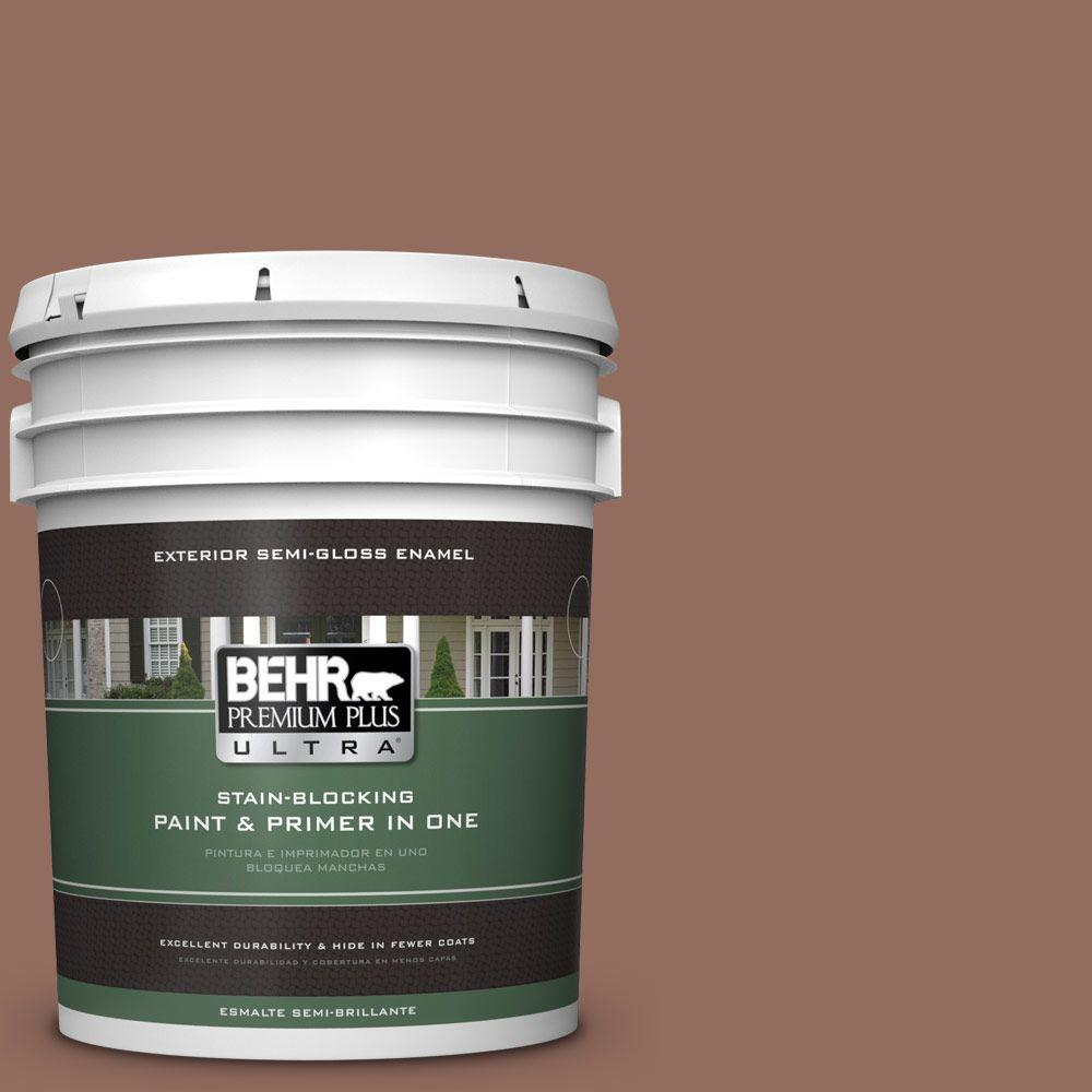 5-gal. #220F-6 Chocolate Curl Semi-Gloss Enamel Exterior Paint