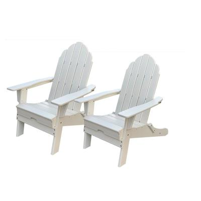 Balboa White Folding Plastic Adirondack Chair (2-Pack)