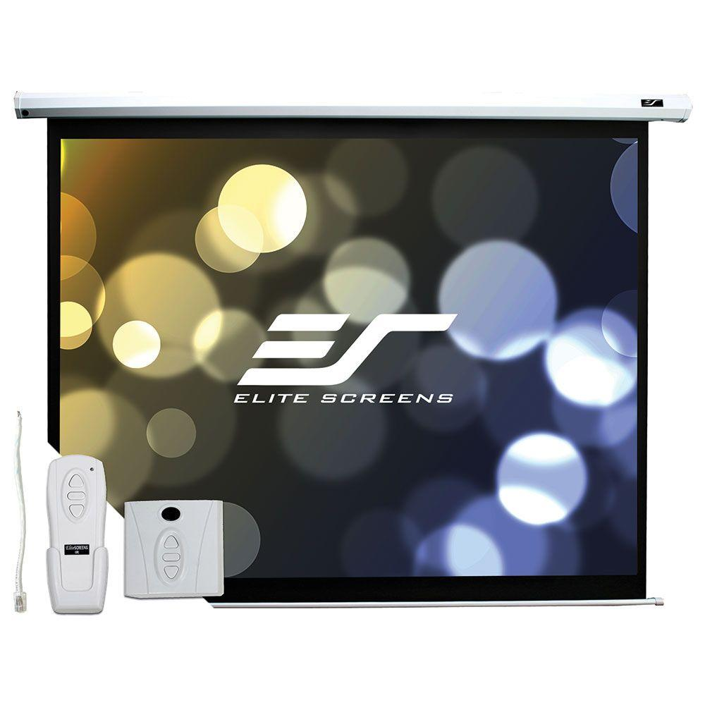 Elite Screens 60 in. H x 80 in. W Electric Projection Screen with White Case