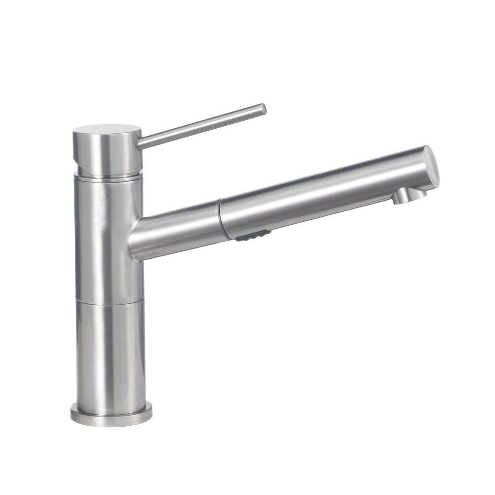 Blanco Alta Compact Single Handle Pull Out Sprayer Kitchen Faucet In Satin  Nickel