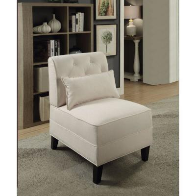 Accent Cream Linen Chair with Pillow