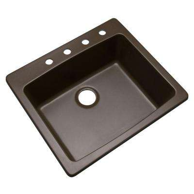 Northbrook Drop-In Composite Granite 25 in. 4-Hole Single Bowl Kitchen Sink in Mocha