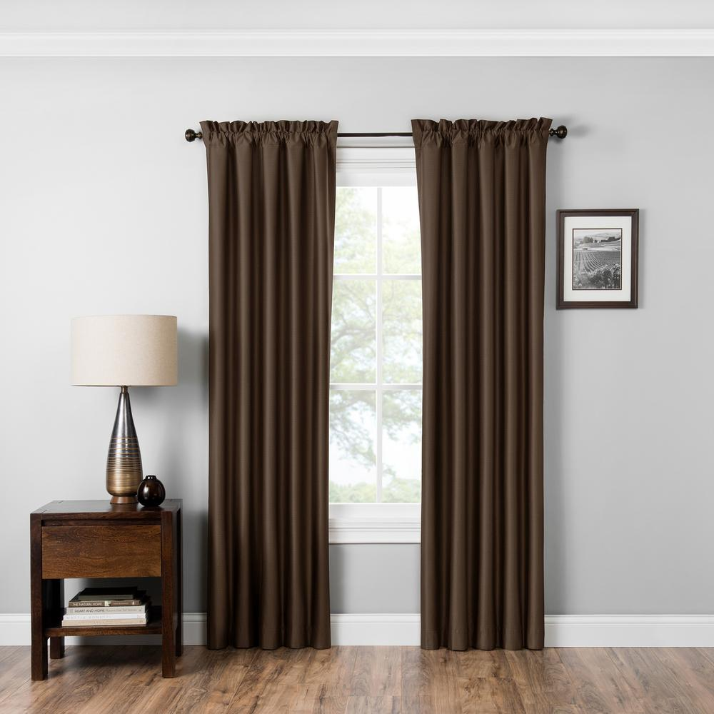 Blackout Miles 63 in. L Chocolate Rod Pocket Curtain